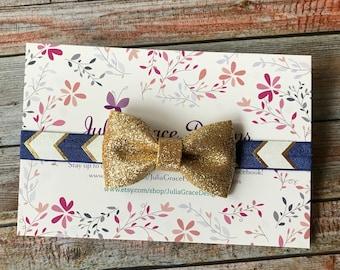 Navy Blue & Gold Headband/Baby Headband/Infant Headband/Baby Girl Headband/Newborn Headband/Toddler Headband/Headband/Navy and Gold/Flower