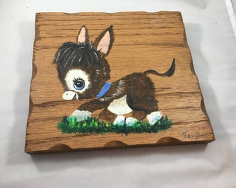 Vintage Mid Century Wood Plaque With Baby Donkey - painted by Joseph A Taugner of St. Paul Minnesota