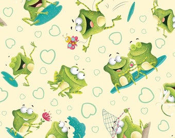 Cream Tossed Frogs from the Frogland Friends Collection by Nidhi Wadhwa for Henry Glass Fabrics