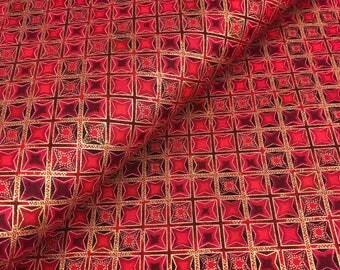 Crimson Diamonds with Metallic from Winter's Grandeur 4 Collection by Robert Kaufman