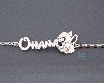 Ohana and Stitch Disney bracelet | Stitch bracelet | Sterling Silver Ohana Stitch bracelet | Ohana Stitch bracelet |Lilo and Stitch bracelet