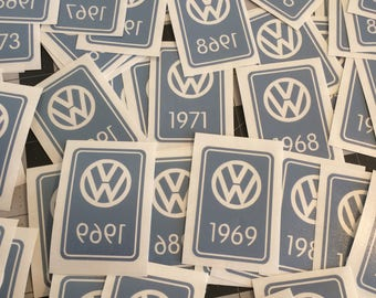 VW vintage YOM 'year of manufacture' Decal Sticker; for inside glass or outside; mk1 mk2 Bug bus Type3 thing