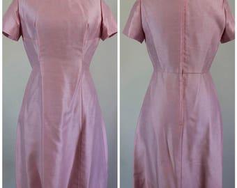 1960s Vintage Emma Domb Dress - 60s Emma Domb Pink Party Dress - Size Small, Medium