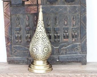 Handmade Moroccan Table Lamp - Brass