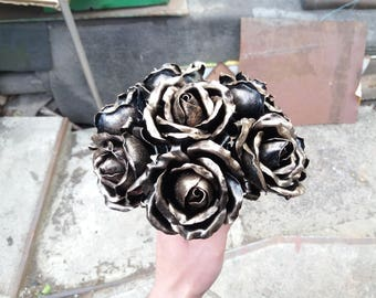 Wedding bouquet, Metal rose bouquet, Steel rose, 8th wedding, Iron anniversary gift, Iron Rose, steel rose bouquet, anniversary bouquet