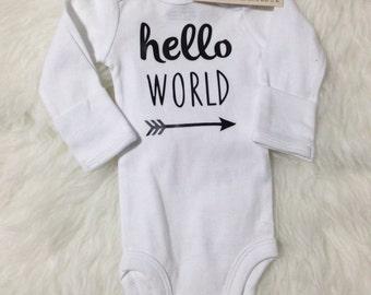 Newborn Hello World Onesie (Take me Home Onesie, hospital outfit)