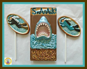 Shark Gift Chocolate/Jaws/Edible Shark Lollipop/Boys Birthday/Edible/Divers/Deep Sea/Snorkel/Flippers/Men/Male/Brother/Son/Husband/Boyfriend