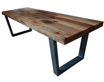 Reclaimed Wood Coffee Table // Tube Steel Legs