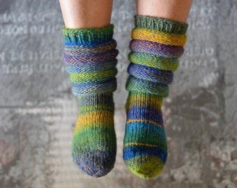 Blue / Green socks handknitted 37/38