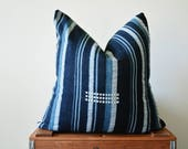 THE HINGHAM Vintage African Indigo Mud Cloth Square Pillow Cover
