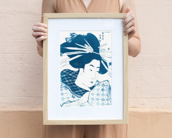 Geisha with Chopsticks in Hair, Japanese Art Cyanotype on Watercolor Paper, A4 size