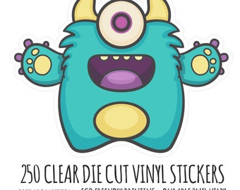 Clear Die Cut Stickers-  250 Clear Vinyl Die Cut Stickers-  Cut to Any Shape