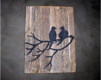 "FREE SHIPPING,Birds, Black and White, 40x30 cm, 16""x12"" in, Art on Wood, Acrylic art, Reclaimed wood, Branch, Silhouette, Wall decor"