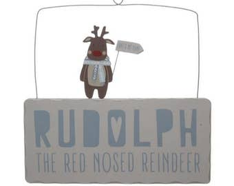 Rudolph the red nosed reindeer Christmas Wall Hanging/plaque