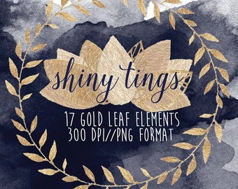 Gold Leaf Clipart Elements
