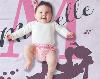 Personalized Receiving Blanket - Custom Name Blanket - Baby Shower Gift - Stroller Blanket - Baby Photo Prop - Monogrammed Blanket