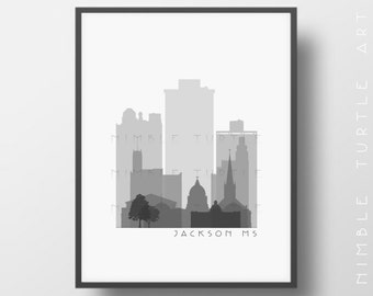 Jackson Skyline Printable Download  -  Black and White  -  Grayscale - Jackson Mississippi Gallery Wall Art