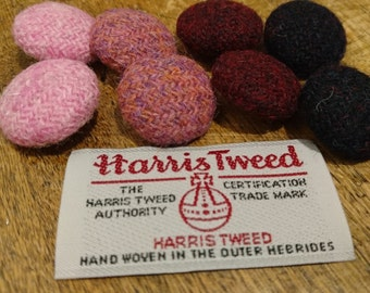 Hand Crafted Harris Tweed covered buttons set of 8
