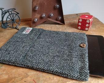 Harris Tweed iPad case cover in grey herringbone