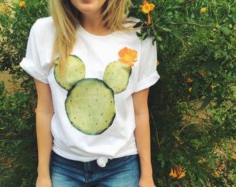 Mickey Mouse Cactus Shirt - Trendy Disney World Tee - Cute Disneyland Tshirt - Pad Cactus Tee