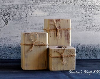 Wood Block Tealight Candle Holders, Rustic Candle Holder, Distressed Tealight Holder, Wood Candle Holder