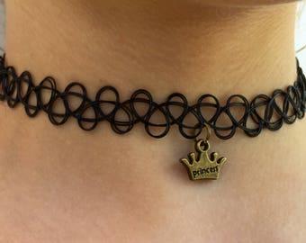 Princess Crown Black Tattoo Choker