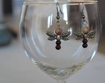 Dragonfly Earrings, Red and Orange, Insect, Nature, Fall, Autumn