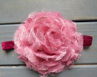 Mauve Baby Headband, Newborn Headband, Flower Headband, Flower Girl Headband, Wedding Headband, Baby Shower Gift, Gifts For Girls