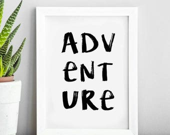 Adventure Travel Quote   Typography Print