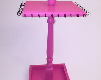Jewelry Stand - Necklace Stand - Painted Wood with Box Base - Pink