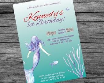 Simple Mermaid Birthday Invitation