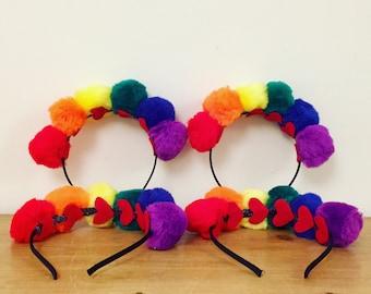 Joy pompom headbands, colourful headband, headdress, pompom crown