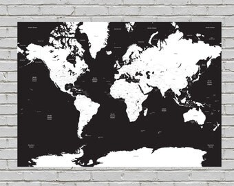 Black & White A1 Minimalist Travelling Map of the World Print Wall Art Home Decor High Quality Poster