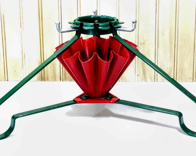 Retro Christmas Tree Stand | Mid Century 1950s Live Christmas Tree Base - Green and Red Ruffled Metal