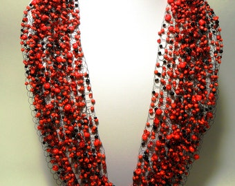 Red black airy necklace crochet multistrand necklace statemen jewelry gift for her cobweb everyday casual unusual gift idea romantic passion