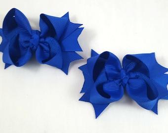 Royal Blue Mini Hair Bows-Set of 2/Hair Accessories/Little Girl Hair Bow/Toddler Hair Bow/Tween Bow/Piggy Tail/Black Hair Bow/Stack Hair Bow