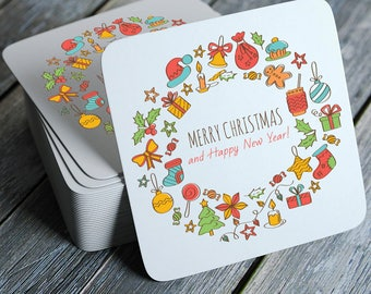 Merry Christmas and Happy New Year Coasters Set of 4