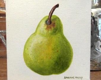 Original oil painting - Mini canvas - Pear