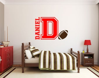 Personalized Name With Football and Initial Nursery Boy wall decal kids available in 7 different sizes and 30 different colors 016