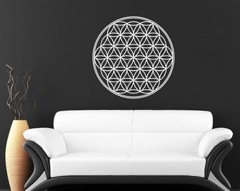 Seed Flower Of Life Mandala vinyl sticker wall art mural available in 7 different sizes and 30 different colors