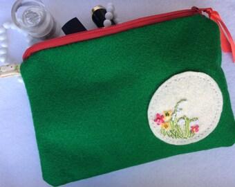 Orginal Beautiful Handmade Green Felt Cosmetic Bag witch Embroidery