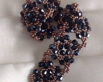 Beaded bracelet - hand made in black crystals and seed beads