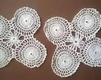 Тwo white Doilies crocheted  Rhombus  Vintage 70s  Crocheted Doilies  Handmade Doilies  Wedding doiles