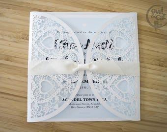 Wedding invitations - vintage pretty laser cut love heart design with ribbon x 50