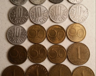 25 austria vintage coins 1963 - 1993  - coin lot groschen shilling - world foreign collector money numismatic a56
