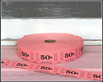 Pink Carnival Raffle Tickets  - (30) 50 Cent Tickets - Pink Raffle Carnival Party Tickets