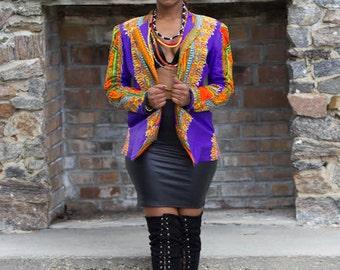 Purple Fitted Daskiki Jacket