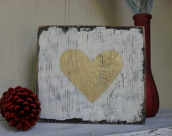 Reclaimed Wood Block Gold Heart Shelf Sitter Rustic Shabby Chic Farmhouse Country Primitive Decor Valentine Wedding