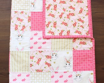 The Alice Quilt, baby girl quilt, baby bedding, nursery bedding, bunny blanket, bunny baby, floral baby, baby blanket, baby girl, baby gift
