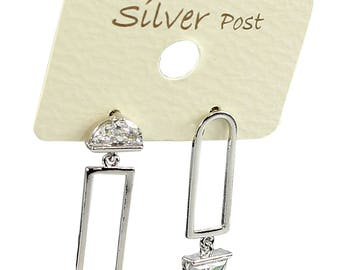 Paper clip shaped Earrings with 925 Silver Post and Rhinestones unbalanced